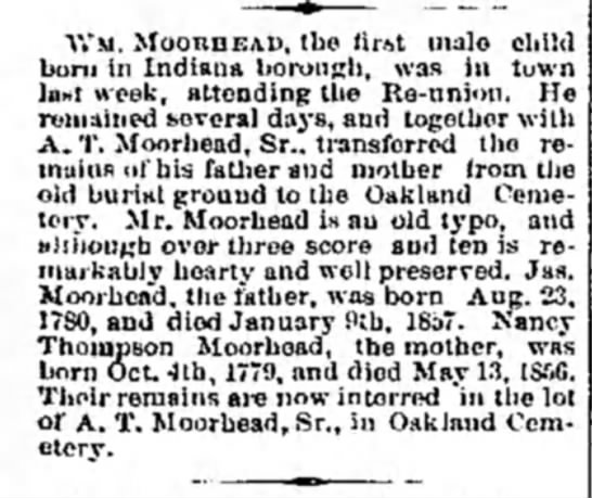 Wm Moorhead - Vt'si. MOONHEAD, the first male child born in...