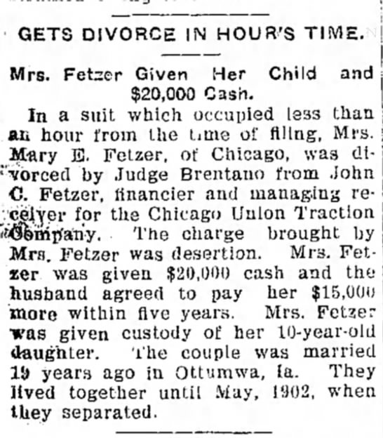 Fetzer, John C - Divorce announcement -