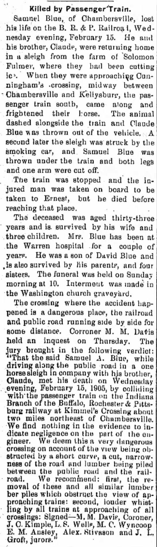 Samuel Blue obit, Indiana Democrat, 22 Feb 1905 -