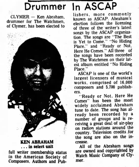 Ken ASCAP Dec 21 1974 -
