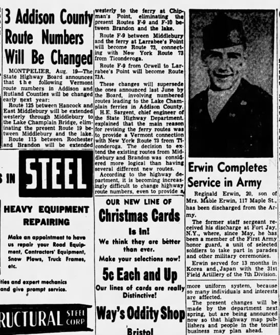 Addison County changes, August 20, 1953 -