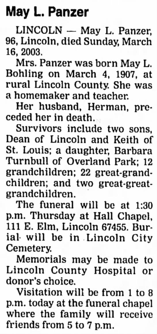 May Lena Bohling Panzer Obituary -