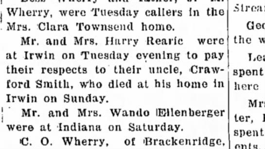 Crawford Smith death January 1934 -