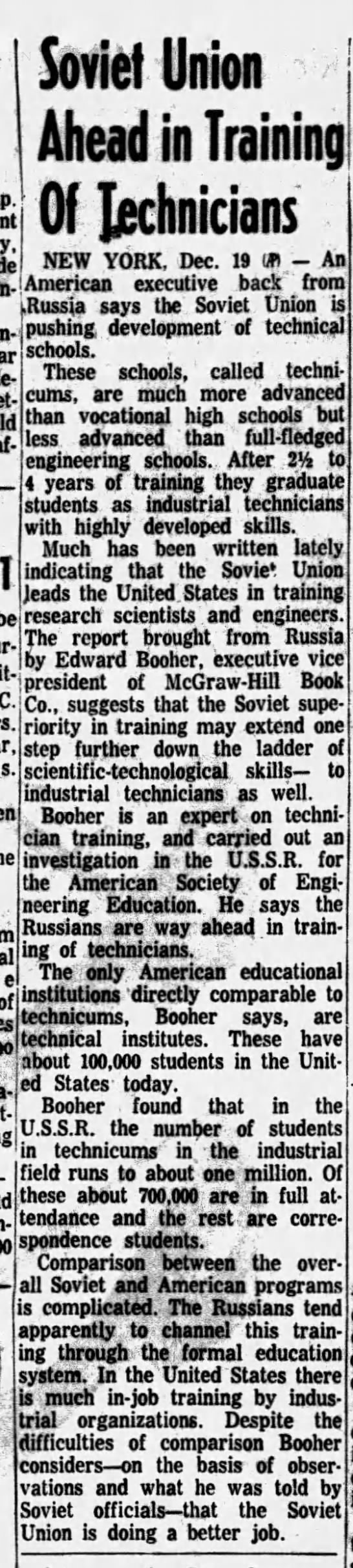 Soviet Union Ahead in Training Technicians -