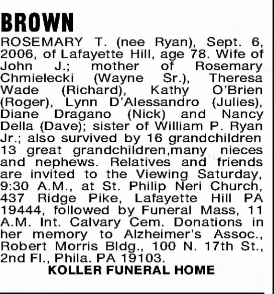 Rosemary T Ryan Brown -