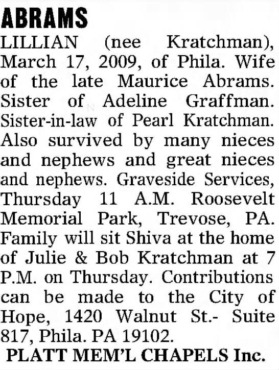 - ABRAMS LILLIAN (nee Kratchman), March 17, 2009,...