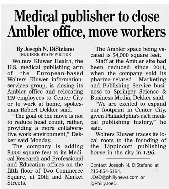 medical publisher to close ambler office -