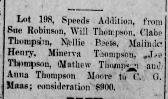 Lot 198 Speeds Addition Thompsons to C. G. Maas Vicksburg Evening Post 30 mar 1907 pg 2 - Lot 198, Speeds .Addition. from Sue Robinson,...