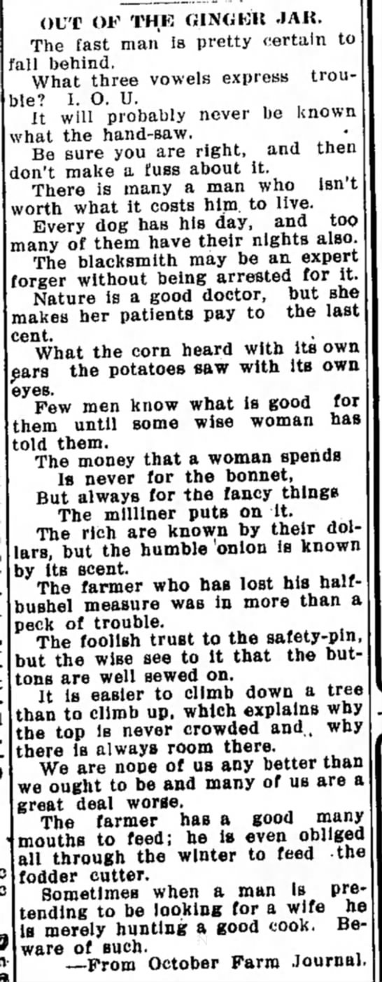 Out of the Ginger Jar Advice from early 1900's -