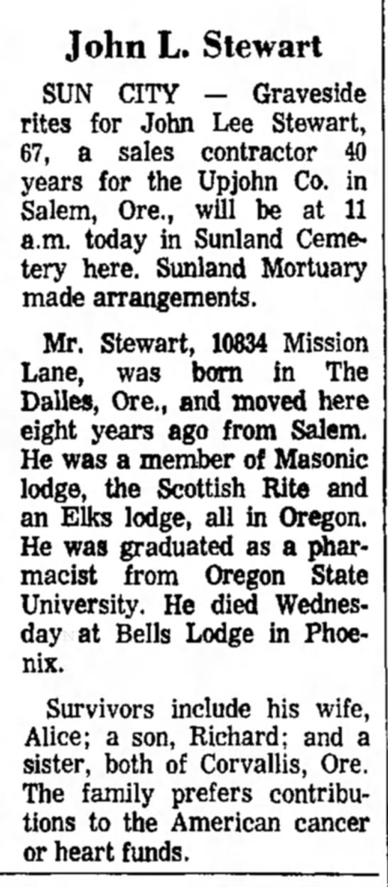Arizona Republic, May 17, 1969, p. 28 - John L. Stewart SUN CITY - Graveside rites for...