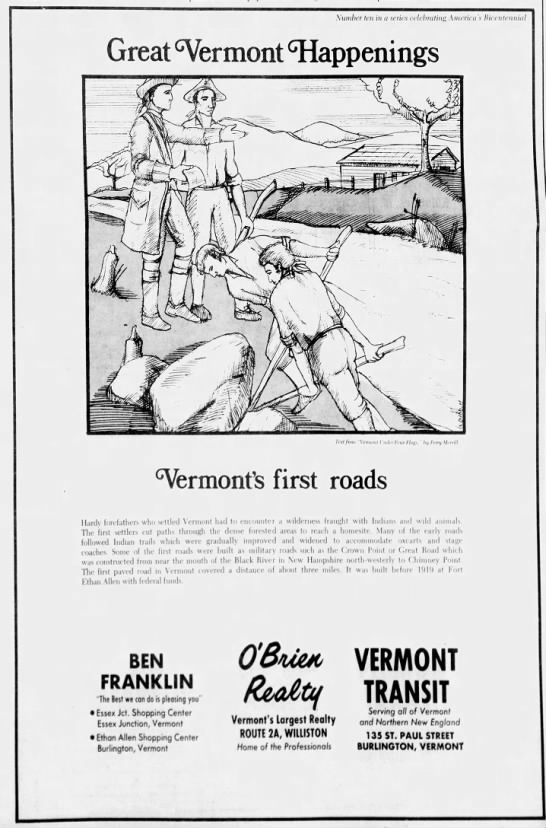 70abc5892 vermont's first roads - Number ten in a series celebrating, America's.