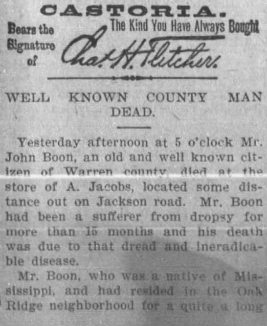 John Boone obit, Jan 17, 1903 Vicksburg, MS, The Vicksburg Herald -