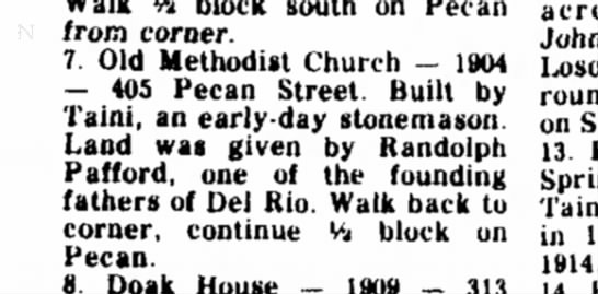 Randolph Pafford donated land for Church on Pecan Street, Del Rio -