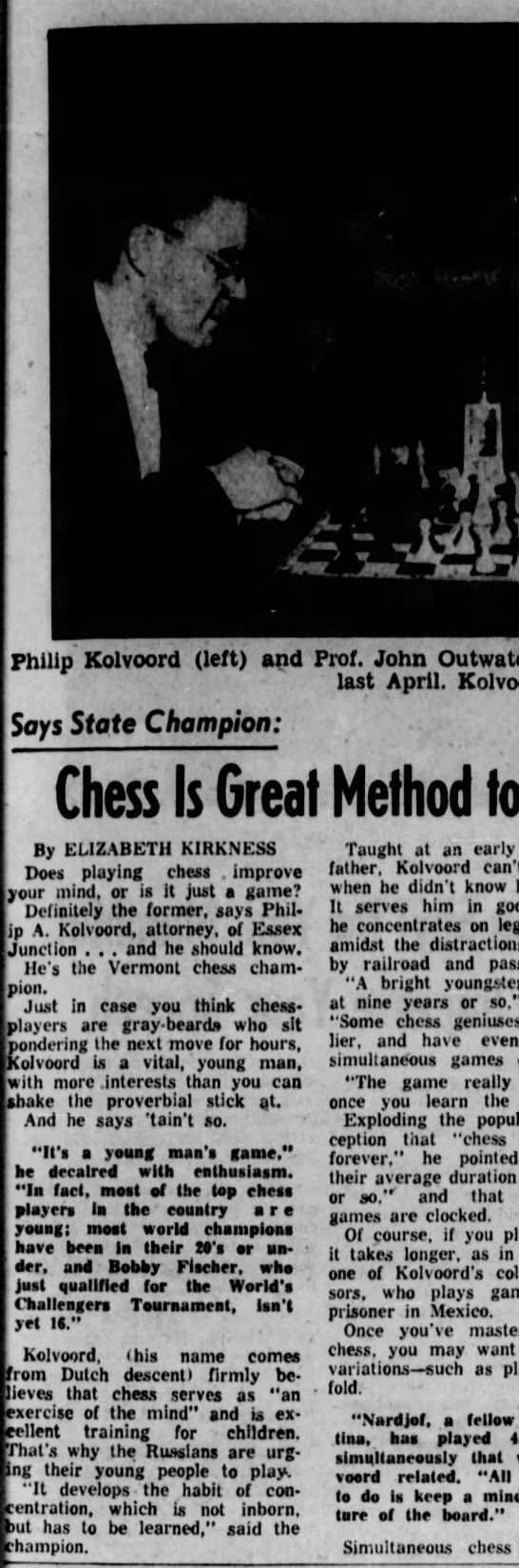 Chess is Great Method to Improve Mind by Elizabeth Kirkness (Column 1) -