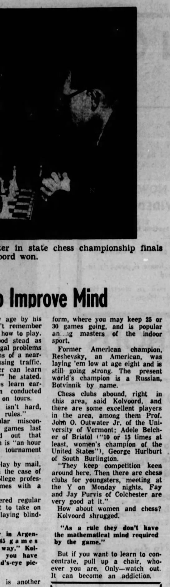 Chess Is Great Method to Improve Mind By Elizabeth Kirkness -