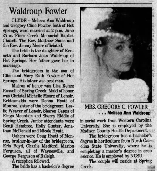 Waldroup - Fowler marriage -
