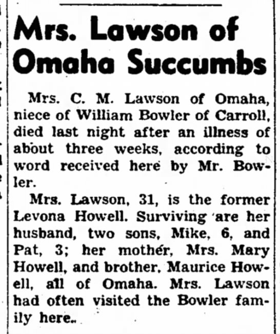 Levona's Obit in Carroll april 16, 1952 -