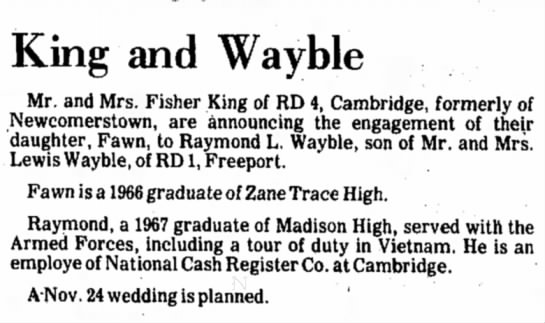 - King and Wayble Mr. and Mrs. Fisher King of RD...
