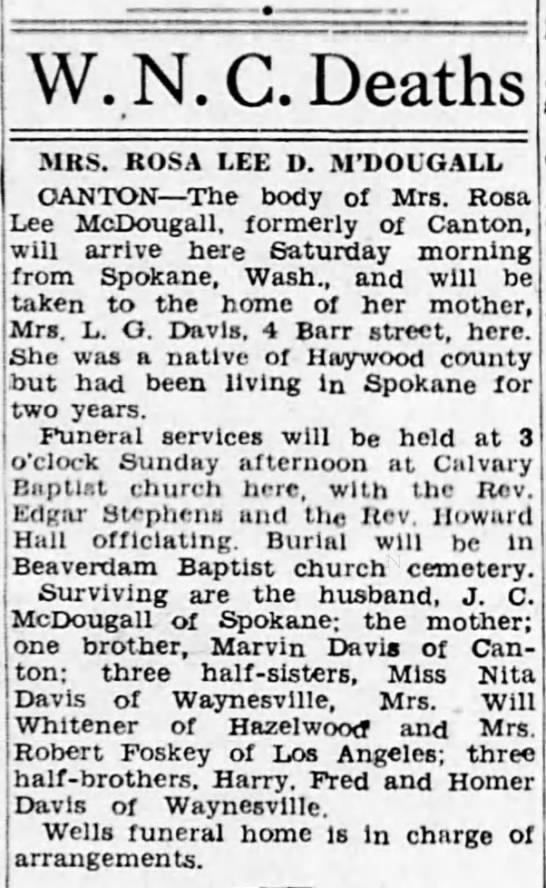 Rosa Lee Davis death; 8 May 1948 -