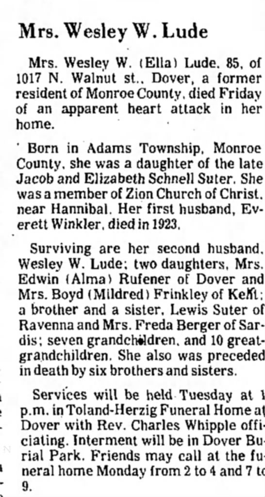 Mrs. Wesley W. Lude,