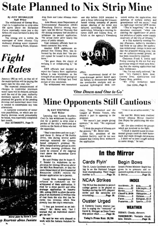 Sept 25, 1982 - Altoona Mirror:  ACA Watershed Mining Permits -