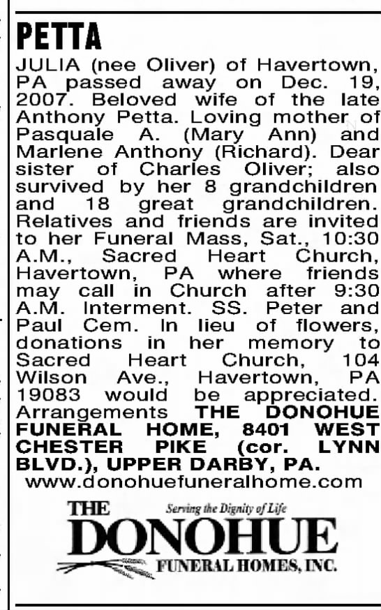 Julia Petta Obituary - PETTA JULIA (nee Oliver) of Havertown, PA.