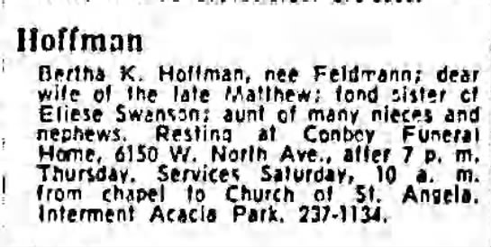 1971 Dec 10 - Chicago Tribune (Chicago, IL) pg34 - Fu-1 Hoffman Bertha K. Hoffman, nee FeldTai :...
