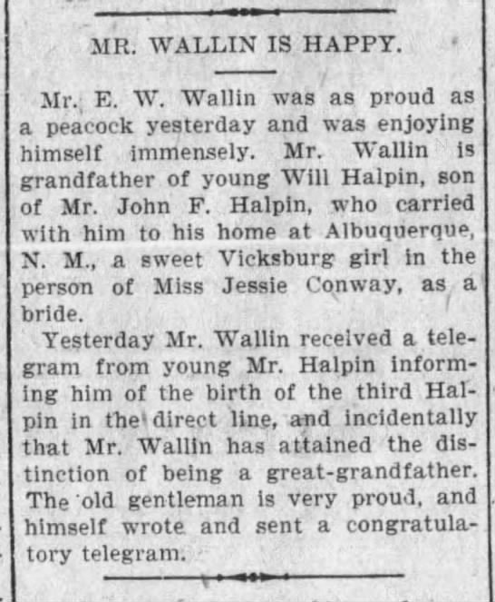 E W Halpin first child -
