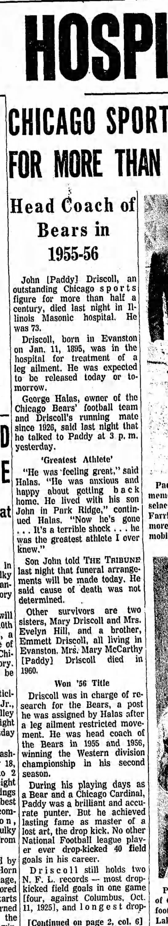 Paddy Driscoll, 73, Dies in Hospital: Chicago Sports Figure For More Than 50 Years -