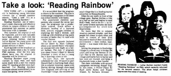 """Take a look: 'Reading Rainbow'"" -"