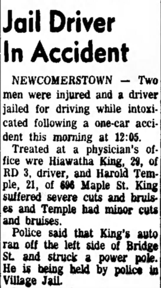 - Jail Driver In Accident NEWCOMERSTOWN - Two men...