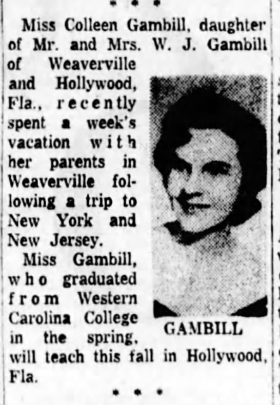 Glenda Colleen Gambill native of North Carolina -