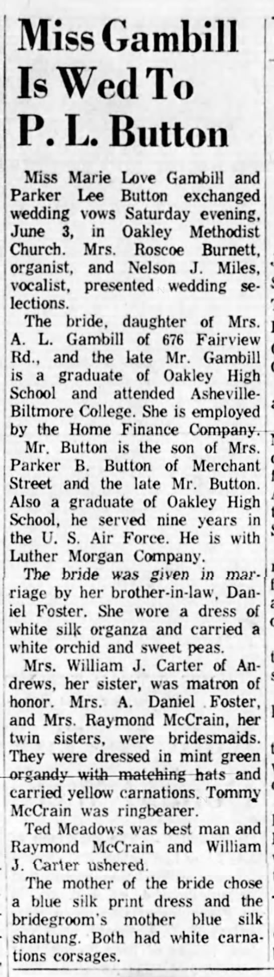 Marie L Gambill marriage announcement to P L Button 1961 North Carolina -