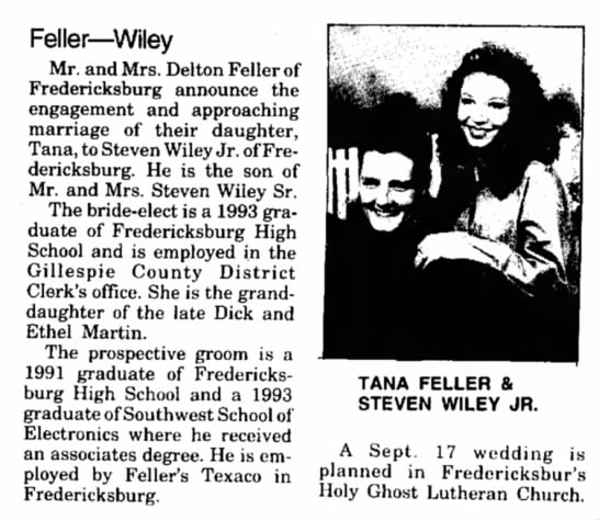 Ethel Black's granddaughter engagement 14 Aug 1994 Kerrville Times -