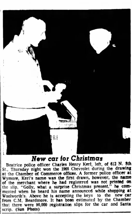 Kerl, Charles Henry wins car 22 Dec 1967 -
