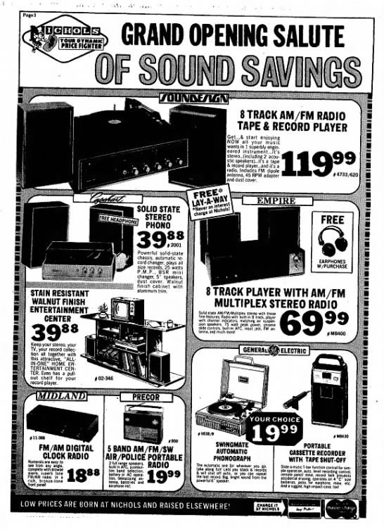 GE phonograph Nichols November 8, 1972 - Page3 > GRAND OPENING SALUTE TOUR DYNAMIC PRICE...