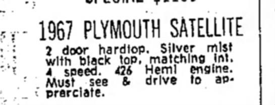 - • r 1967 PLYMOUTH SATELLITE • 2 ..door hardtop....