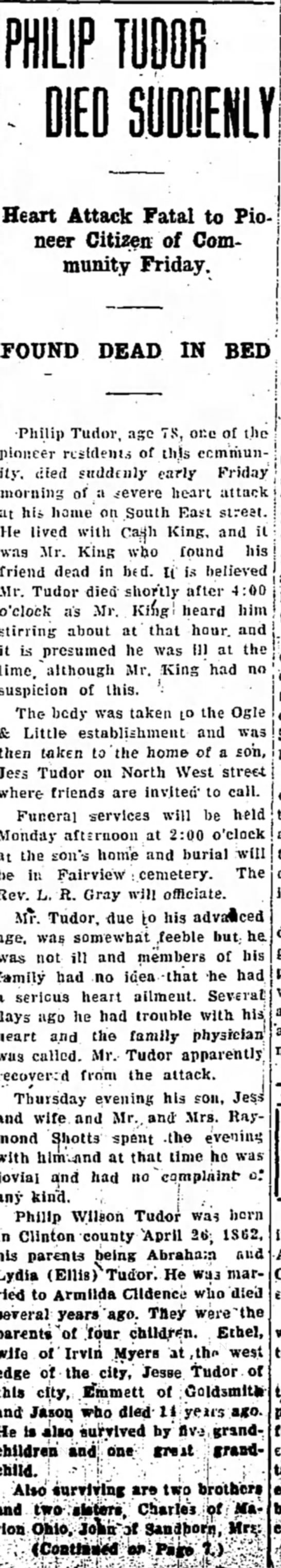 Phillip Tudor obit 16 Feb 1940 part 1 -