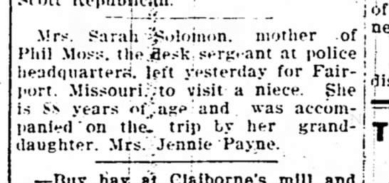 Sarah Solomon Visits Niece - The Iola Register 1 June 1910 Page 4 -