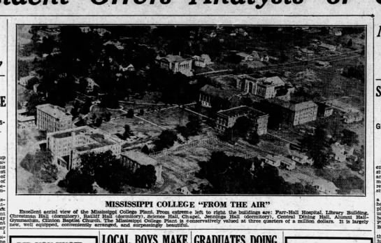 Aerial View Mississippi College-- 1933 -