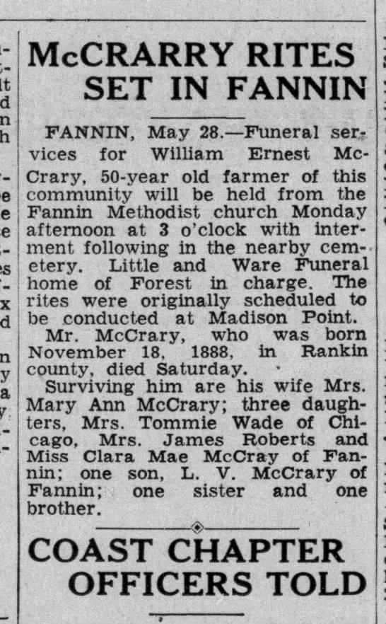 29May1939 William Ernest McCrarry death notice. Obituary - the McCRARRY RITES SET IN FANNIN FANNIN, May...