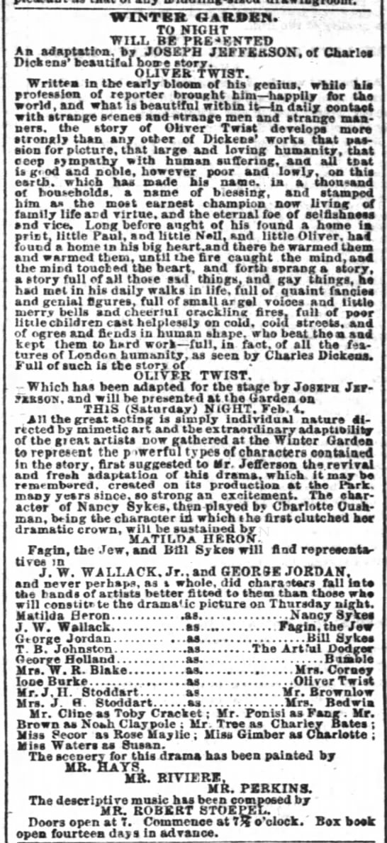 4 Feb 1860 New York Times p 7 col 5 - WINTER GARDEN. TO NIGHT WILL BE PRE'KNTED An...