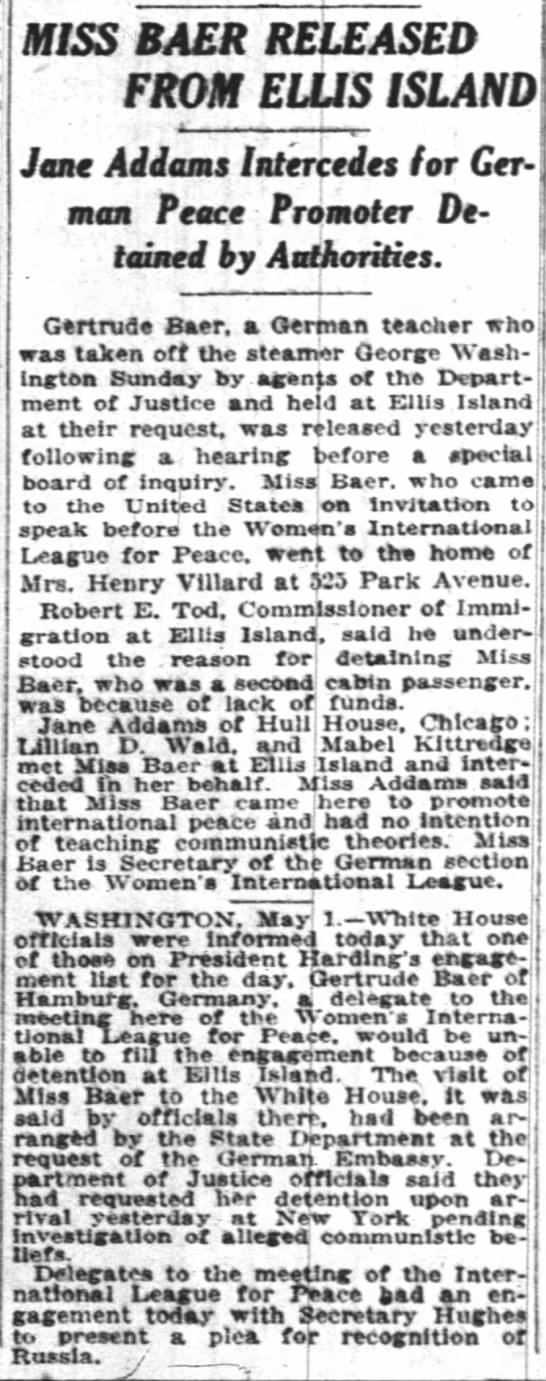 Miss Baer released from Ellis Island. The New York Times (New York, New York) 2 May 1922, p 12 -