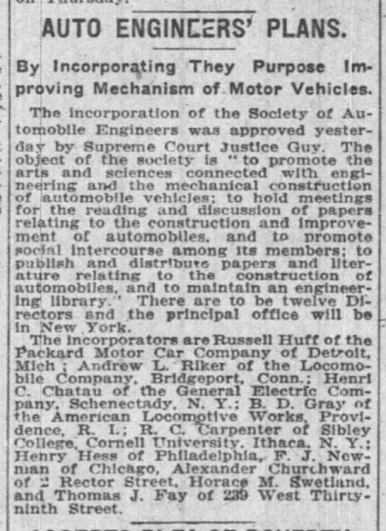 Horace M. Swetland - Society of Automobile Engineers founded 1909