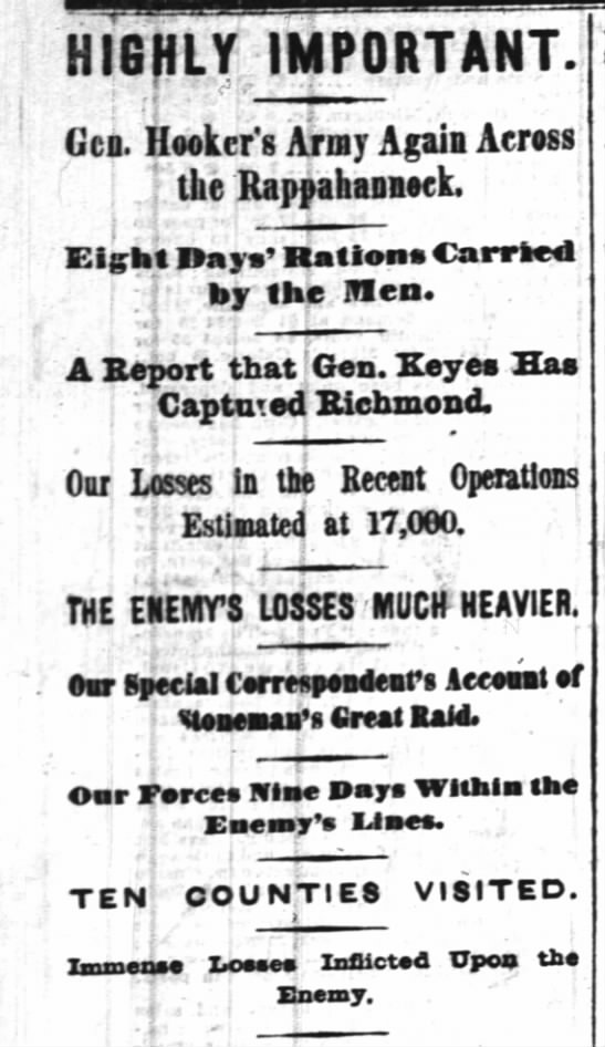 Headlines from the Civil War today.  -
