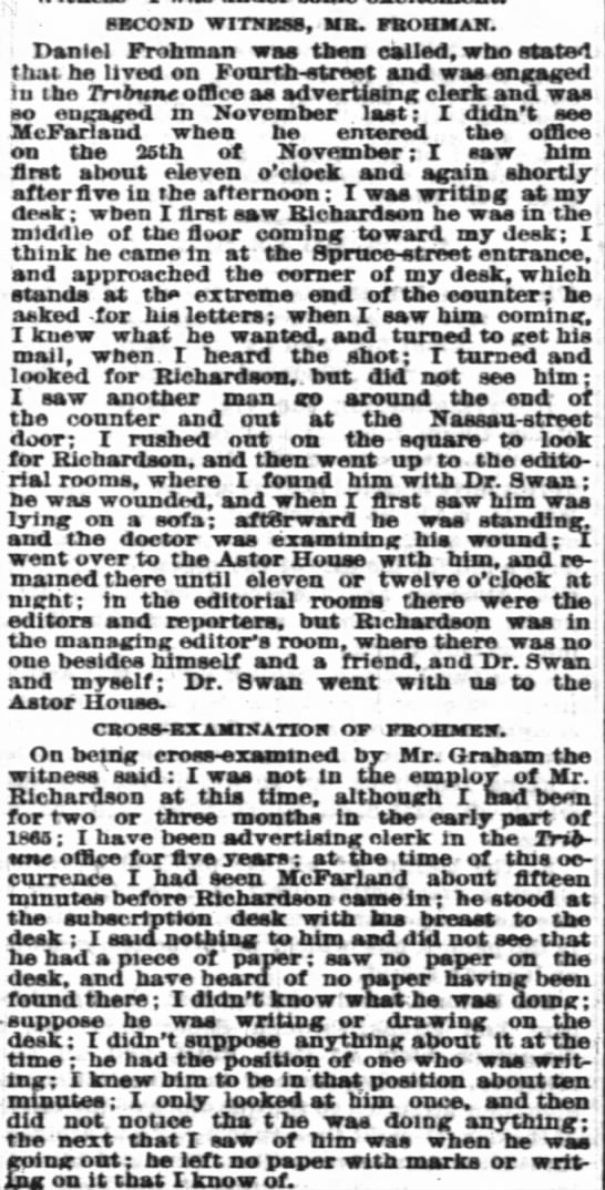 Daniel Frohman working at NY Tribune 1869. -