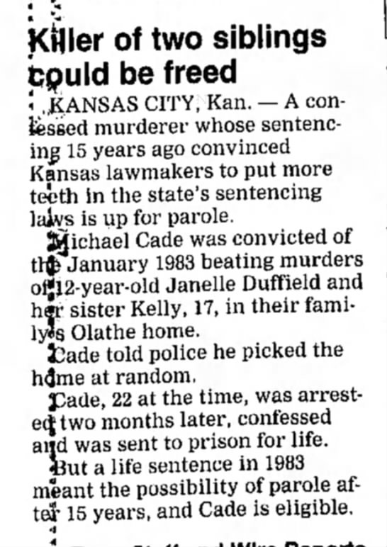 Duffield Murders - 24 Feb 1998 - Salina Journal, Kansas -
