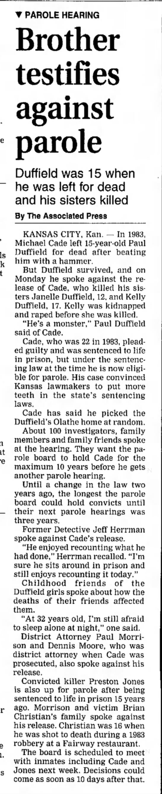 Duffield murders - 25 Feb 1998 - Salina Journal, KS -