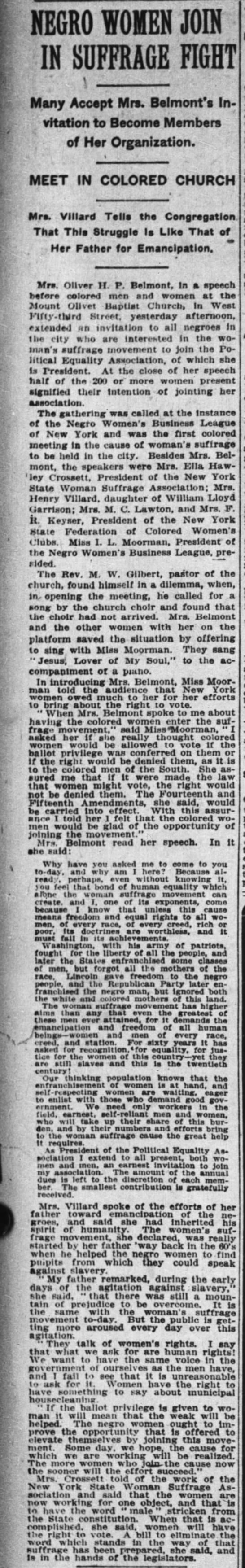 Negro Women Join in Suffrage Fight. The New York Times (New York, New York) 7 February 1910, p 4 -