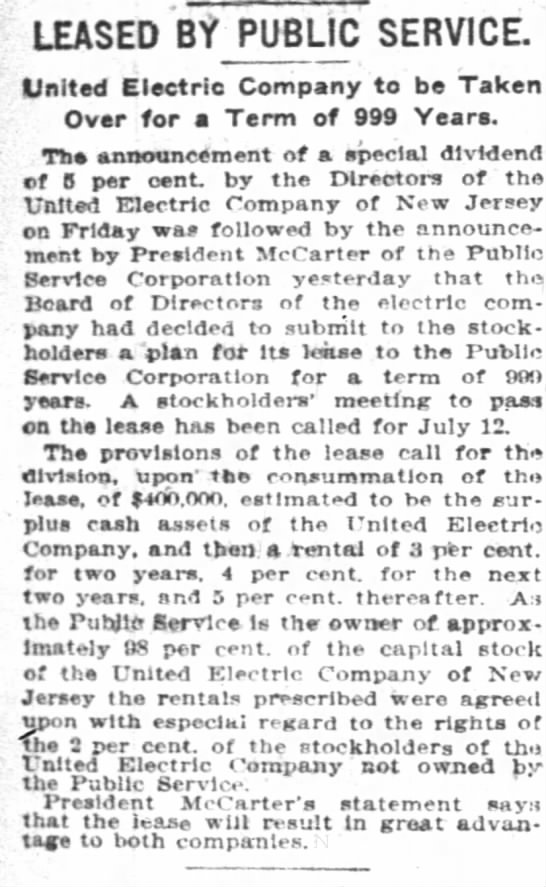 Leased By Public Service: United Electric Company to be Taken Over for a Term of 999 Years -